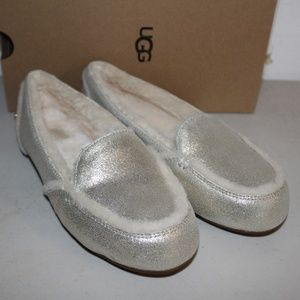 UGG HAILEY PLATINUM GOLD METALLIC SUEDE SHEEPSKIN
